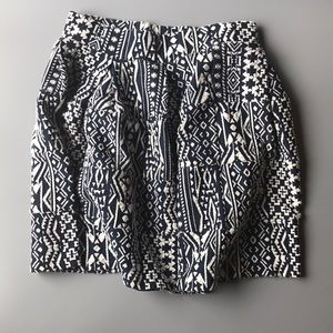 Navy and Cream Patterned Skirt XS